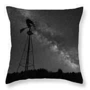Milky Way Windmill Bw Throw Pillow