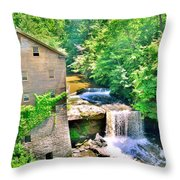 Mill Creek Park Lanterman's Mill And Covered Bridge Throw Pillow