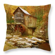 Grist Mill In West Virginia Throw Pillow by Ola Allen