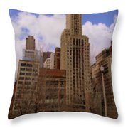 Millenium Park And Bench 1 Throw Pillow
