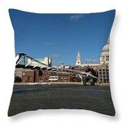 Millennium Bridge And St Pauls Throw Pillow