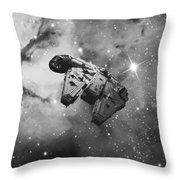 Millennium Falcon And Cosmos Throw Pillow