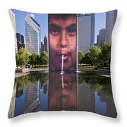 Millennium Park Fountain And Chicago Skyline Throw Pillow
