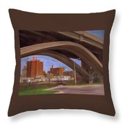 Miller Brewery Viewed Under Bridge Throw Pillow