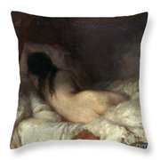 Millet: Reclining Nude Throw Pillow