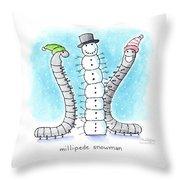 Millipede Snowman Throw Pillow