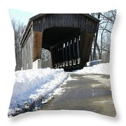 Millrace Park Old Covered Bridge - Columbus Indiana Throw Pillow