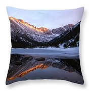 Spring Sunset At Mill's Lake In Rocky Mountain National Park, Colorado, Usa Throw Pillow