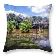 Milnes Bridge At Flood Throw Pillow