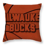 Milwaukee Bucks Leather Art Throw Pillow