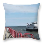 Milwaukee Harbor And Boat Throw Pillow