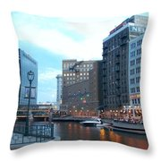 Milwaukee River Walk Throw Pillow