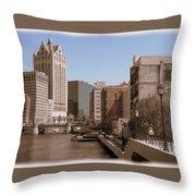 Milwaukee Riverwalk Throw Pillow