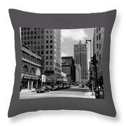 Milwaukee Street Scene B-w Throw Pillow