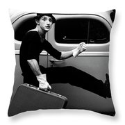Mime Running Along Side Of Classic Hot Rod Throw Pillow