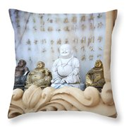 Minature Buddhas Throw Pillow