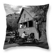 Mine Shaft Bikers Throw Pillow