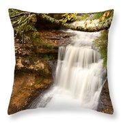 Miner Falls During Autumn Throw Pillow