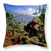 Miners In The Sierras Throw Pillow