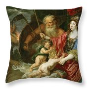 Minerva And Saturn Protecting Art And Science From Envy And Lies  Throw Pillow