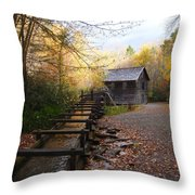 Mingus Mill Fall Color Great Smoky Mountains National Park Throw Pillow
