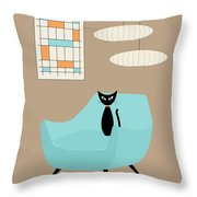 Mini Abstract With Blue Chair Throw Pillow