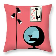 Shower Curtain Mini Atomic Cat On Pink  Throw Pillow