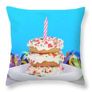 Mini Donut Cake With  Blue Candle By Sheila Fitzgerald Mini Donut Cake With Pink Candle Throw Pillow