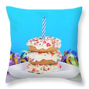 Mini Donut Cake With  Blue Candle Throw Pillow