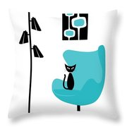 Mini Mod Pods On White With Cat Throw Pillow