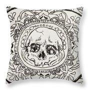 Skull Mandala Throw Pillow
