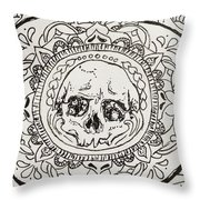 Skull Mandala Throw Pillow
