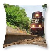 Mini Train Moves Down The Track Throw Pillow
