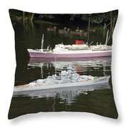 Miniature Boats Throw Pillow
