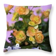 Miniature Gardening Kit With Orange Begonia Background Throw Pillow