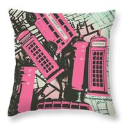 Miniature London Town Throw Pillow