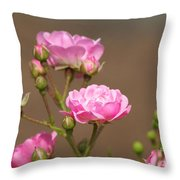 Miniature Pink Roses Throw Pillow