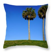 Minimal Palm Trees On A Hill In Saint Augustine Florida Throw Pillow