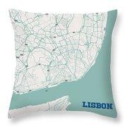 Minimalist Artistic Map Of Lisbon, Portugal 3a Throw Pillow
