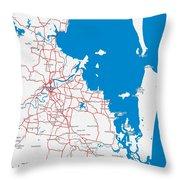 Minimalist Modern Map Of Brisbane, Australia 6 Throw Pillow