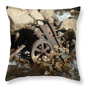 Mining Cart Boulder Falls Throw Pillow