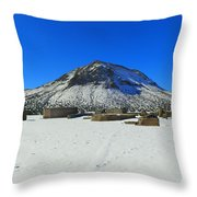 Mining Ruins Foreground A Snowy Mountain Throw Pillow