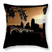 Minneapolis Skyline In Copper Throw Pillow