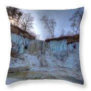Minnehaha Falls Minneapolis Minnesota Winter Morning Throw Pillow