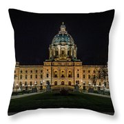Minnesota Capital At Night Throw Pillow