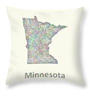 Minnesota Line Art Map Throw Pillow