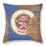 Minnesota Rustic Map On Wood Throw Pillow