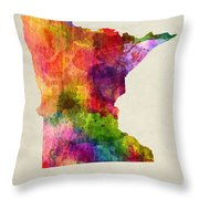 Minnesota State Map 02 Throw Pillow