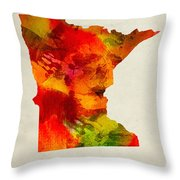 Minnesota State Map 04 Throw Pillow