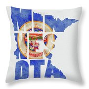 Minnesota Typography Map Flag Throw Pillow